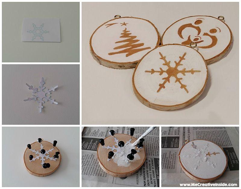 palline di natale dischi di legno ME creativeinside