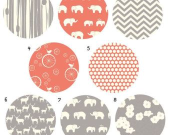 ORGANIC 3 piece custom bedding set- coral and grey- crib skirt, changing pad cover, fitted crib sheet- made to order