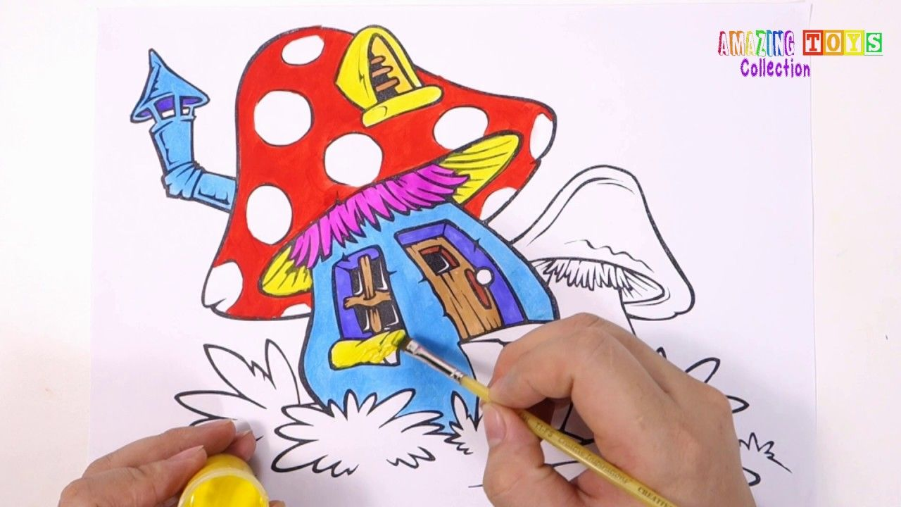 Youtube coloring book - How To Draw Mushroom House Coloring Book For Kids Learning Colouring Pages Youtube