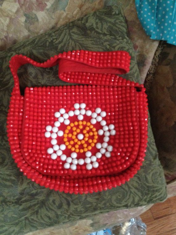 Large Plastic Beaded Red Purse 1970s