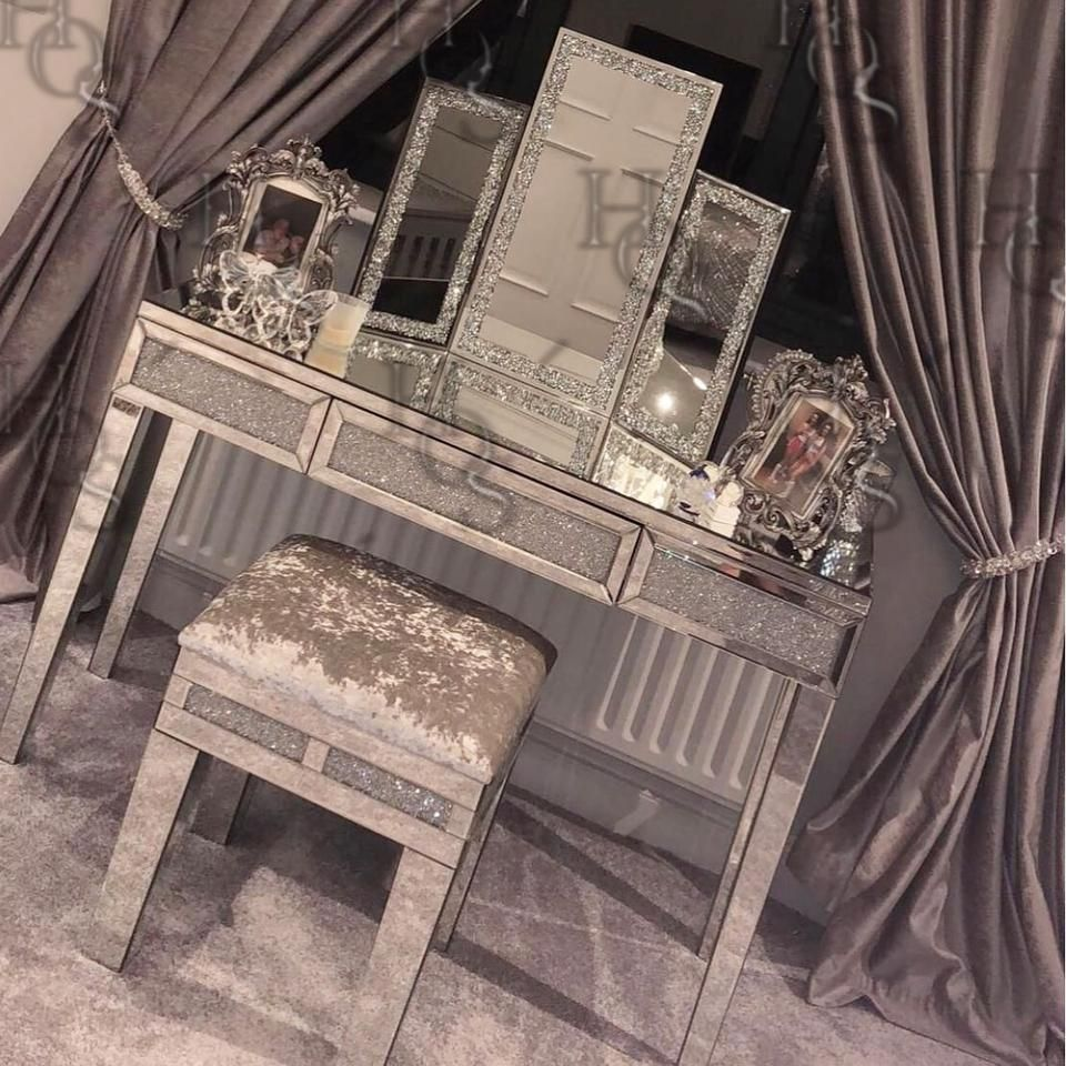 Sparkle Diamond Mirrored Dressing Table Glam Bedroom Decor