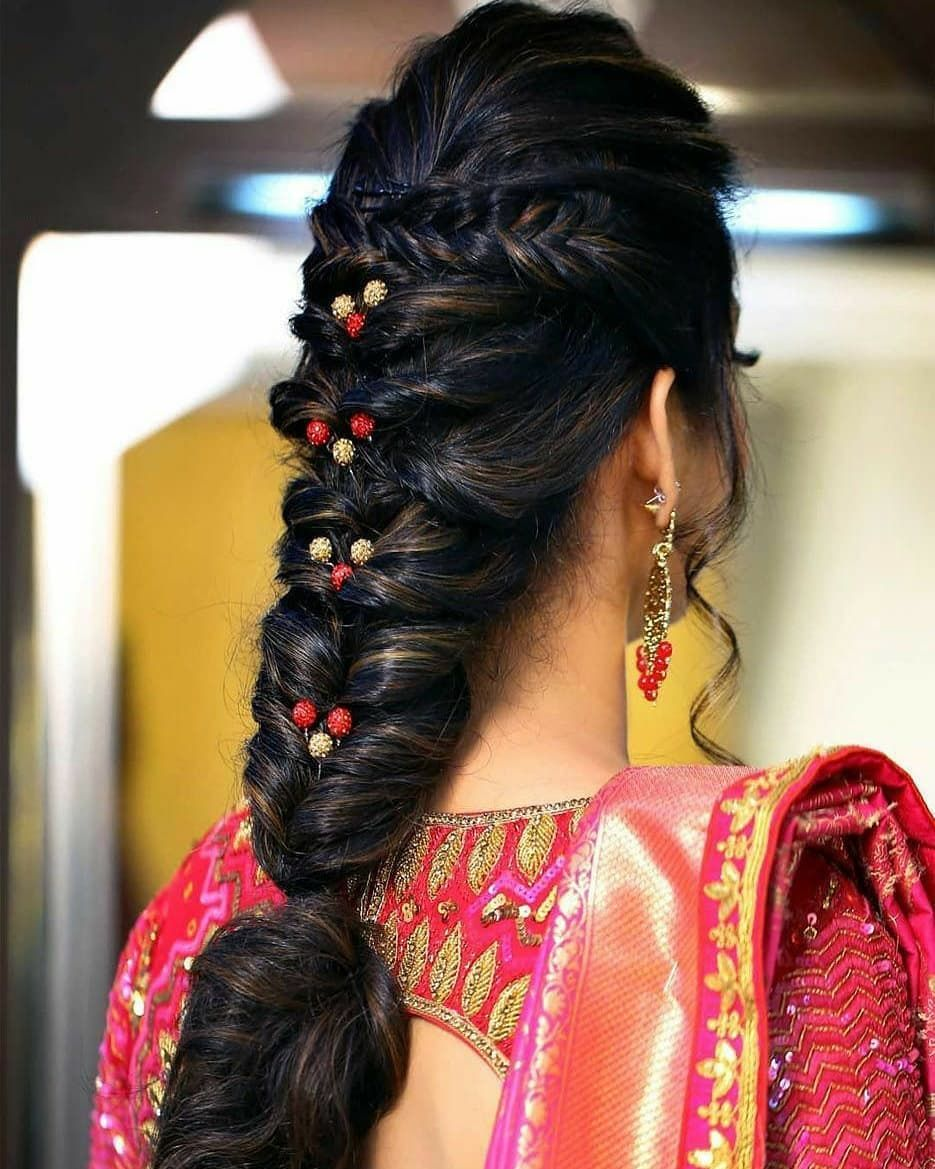 Trendy Hairstyle For Wedding Function Double Tap Want To Know More Ideas P Braided Hairstyles For Wedding Fishtail Braid Hairstyles Messy Fishtail Braids