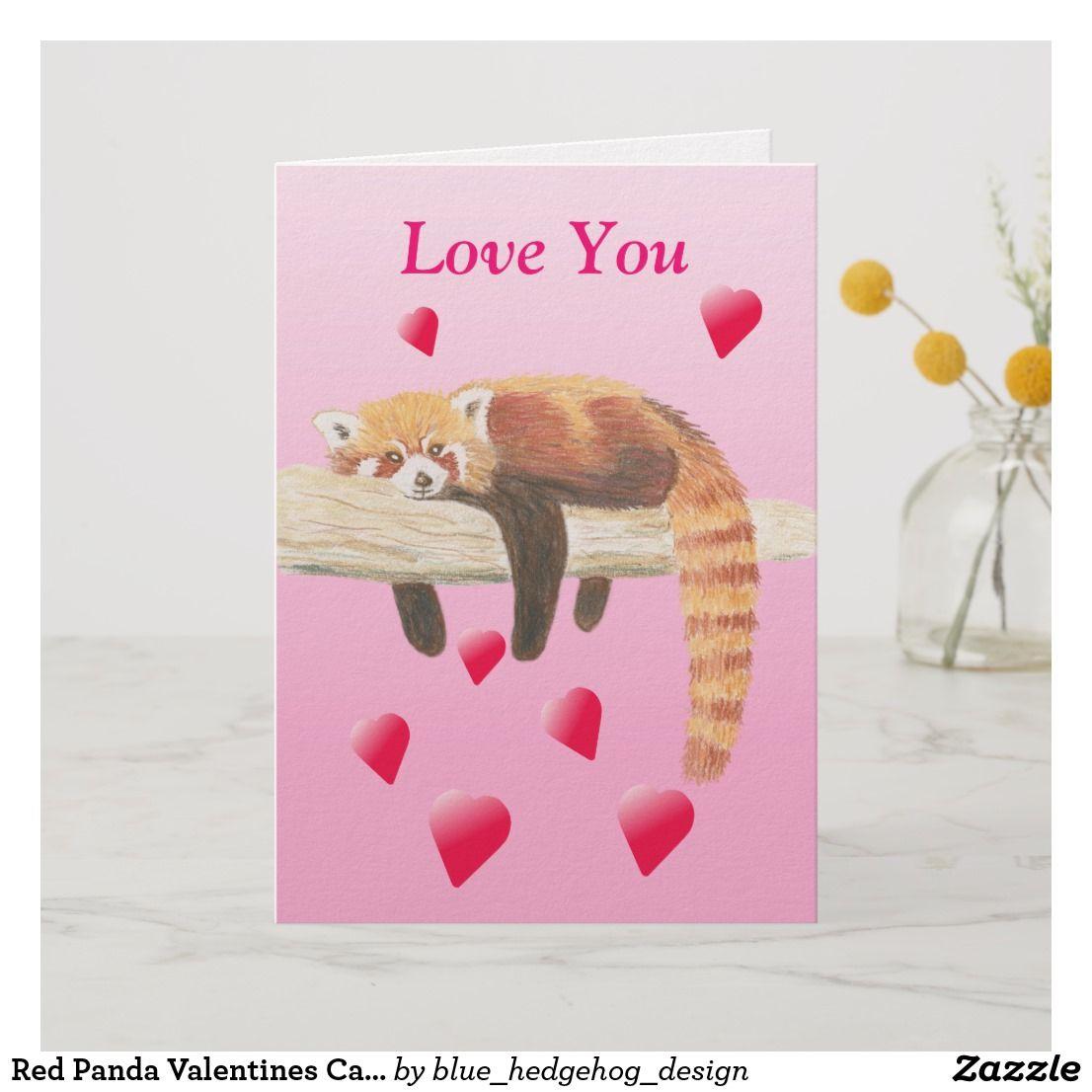 Red Panda Valentines Card