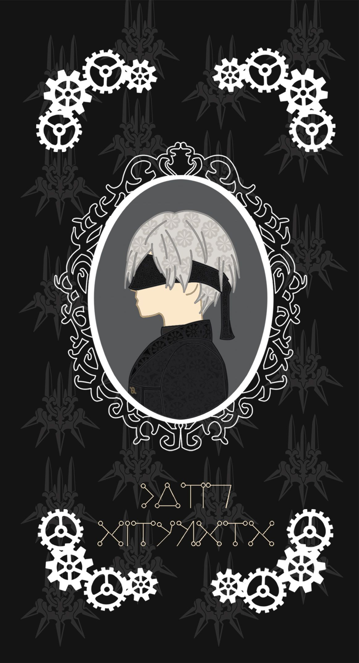 This Iphone Samsung Galaxy Phone Case Features A Portrait Of Android Unit 9s With A Baroque Style Frame The Yorha Log Nier Automata Android Wallpaper Automata