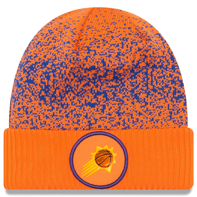 low priced 24a81 577eb ... ebay mens new era orange phoenix suns on court cuffed knit hat 3bb45  97f7b