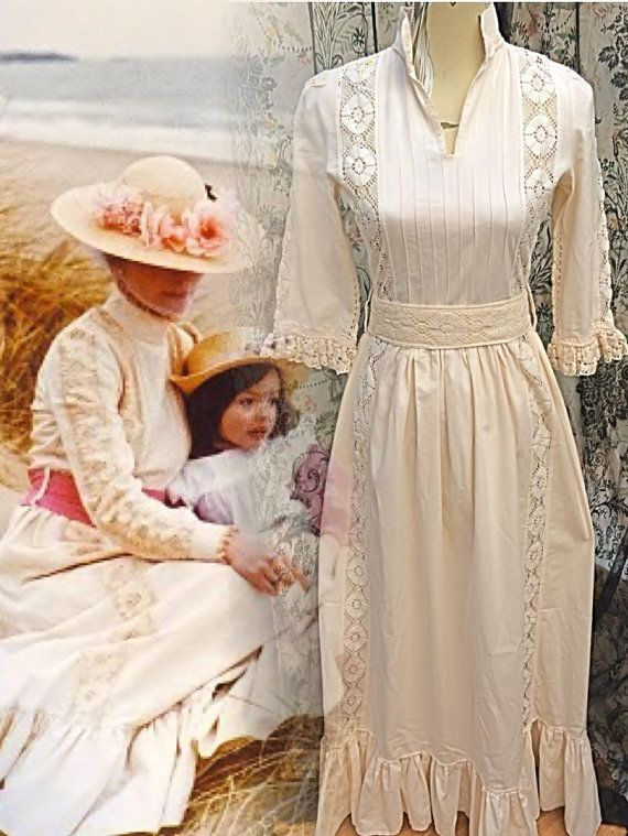 Rare Early Vintage Laura Ashley Edwardian By Lovelylauraashley Wedding Dress Ukcotton
