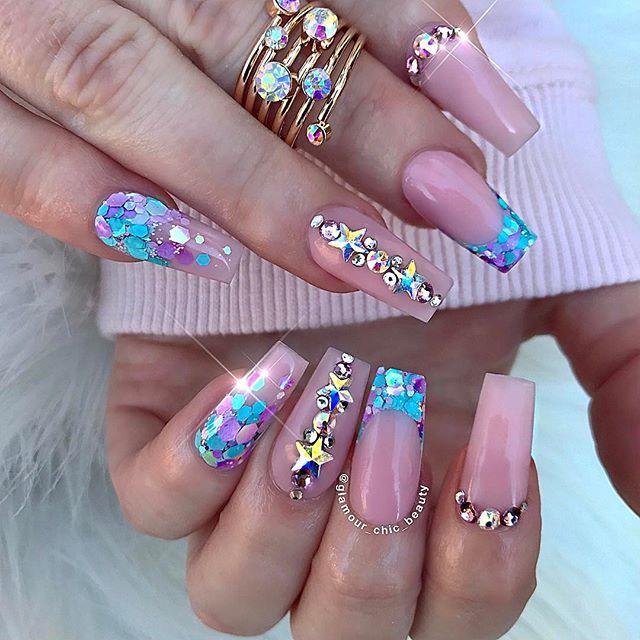 Pretty Manicures Uñas Con Piedras Uñas Postizas