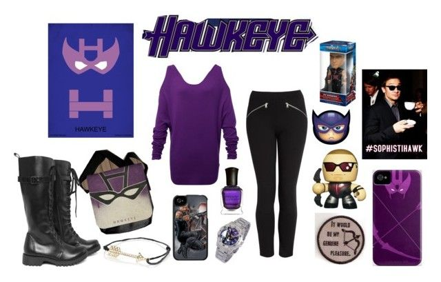 """""""Hawkeye"""" by mallorypfaff ❤ liked on Polyvore featuring Halston Heritage, McQ by Alexander McQueen, Volatile, Deborah Lippmann, River Island, Marvel Comics and hawkeye"""