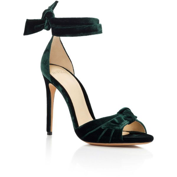 Green velvet shoes