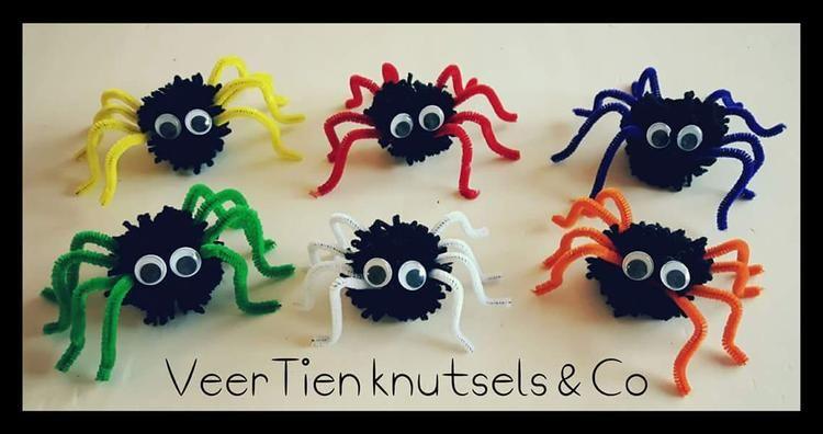 Pompom Spinnen Kinderfeestje Knutselen Knutselen Bloemen Maken