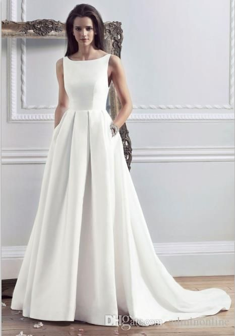 2016 New Style Custom Made Satin Simple Wedding Dresses With Pockets Boat Neck Pleated Modest Bride Dress Women Trajes De Novia