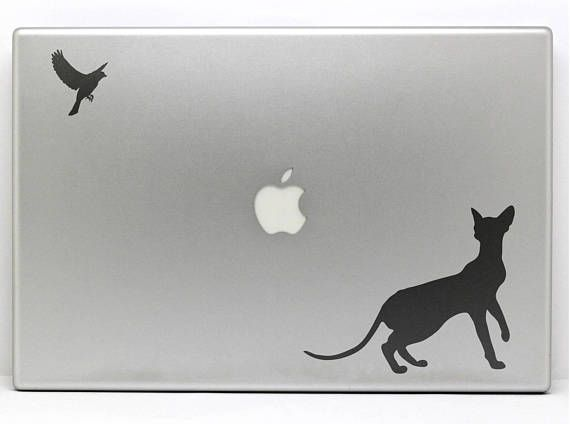 The cat and the bird decal sticker for apple macbook and other laptops funny laptop