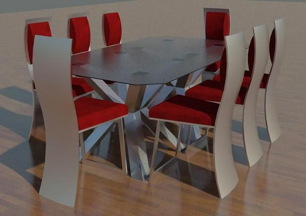 Dining table w chairs revit models pinterest