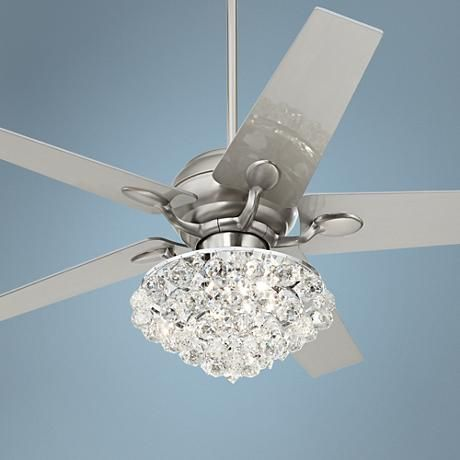 52  Casa Optima™ Brushed Steel Crystal Ceiling Fan & 52