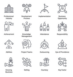 Business Strategy Line Icons Vector Free Color Vector Vector Images