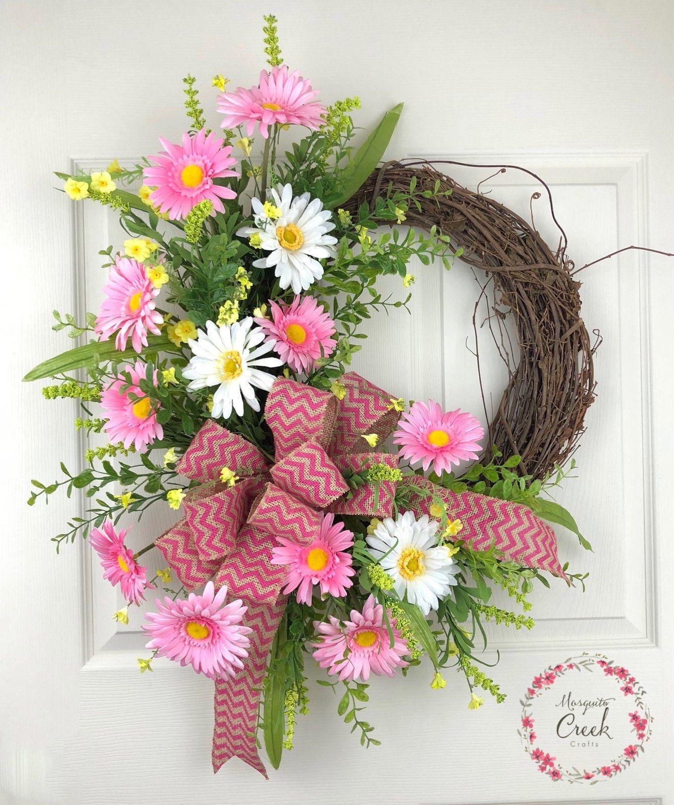 Spring Wreath For Front Door Flower Wreath Everyday Wreath Pink