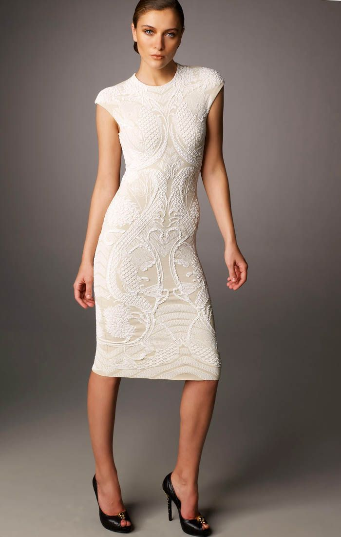 Alexander McQueen Ivory Cocktail Dress. Jewel neckline (Front View ...