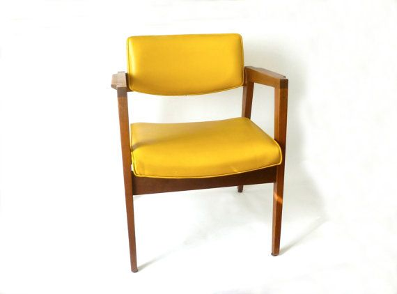vintage mid century yellow gunlocke lounge arm chair walnut mcm