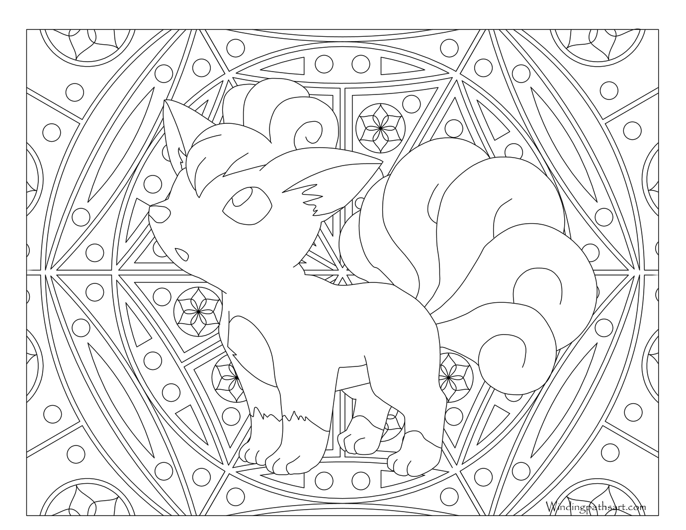 Adult Pokemon Coloring Page Vulpix Adult Coloring Pages