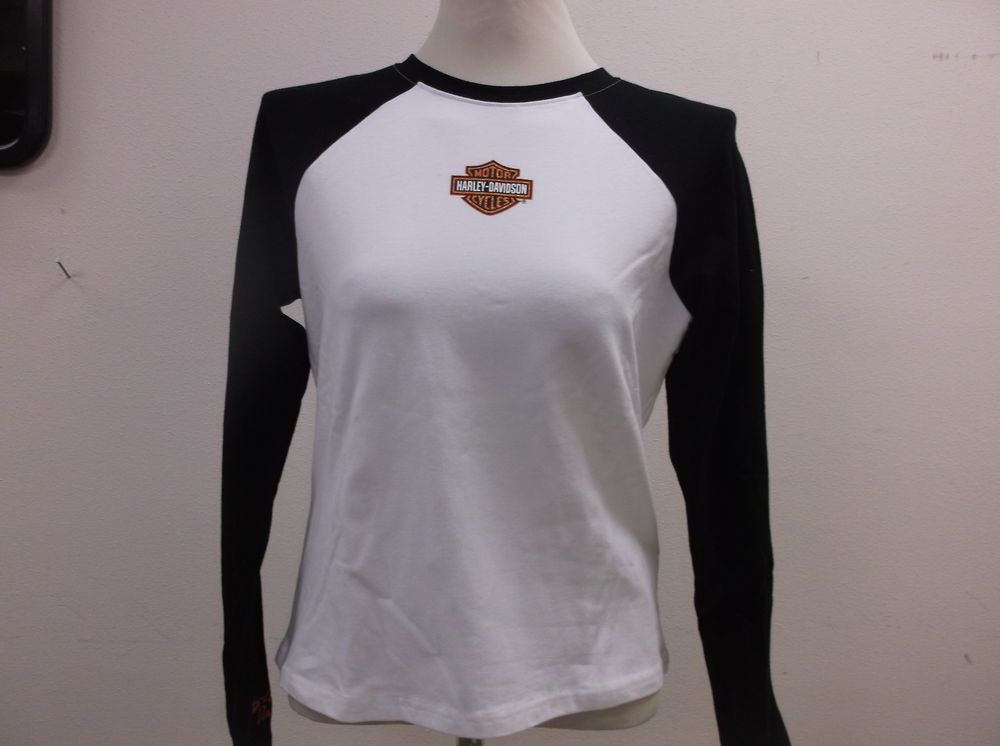 Harley-Davidson Women's White and black Long sleeve shirt 99011-06VW #HarleyDavidson #casual