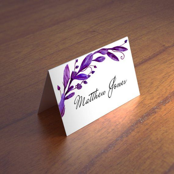 13b06d3001190 Purple wedding place card Escort cards Violet wedding name card ...