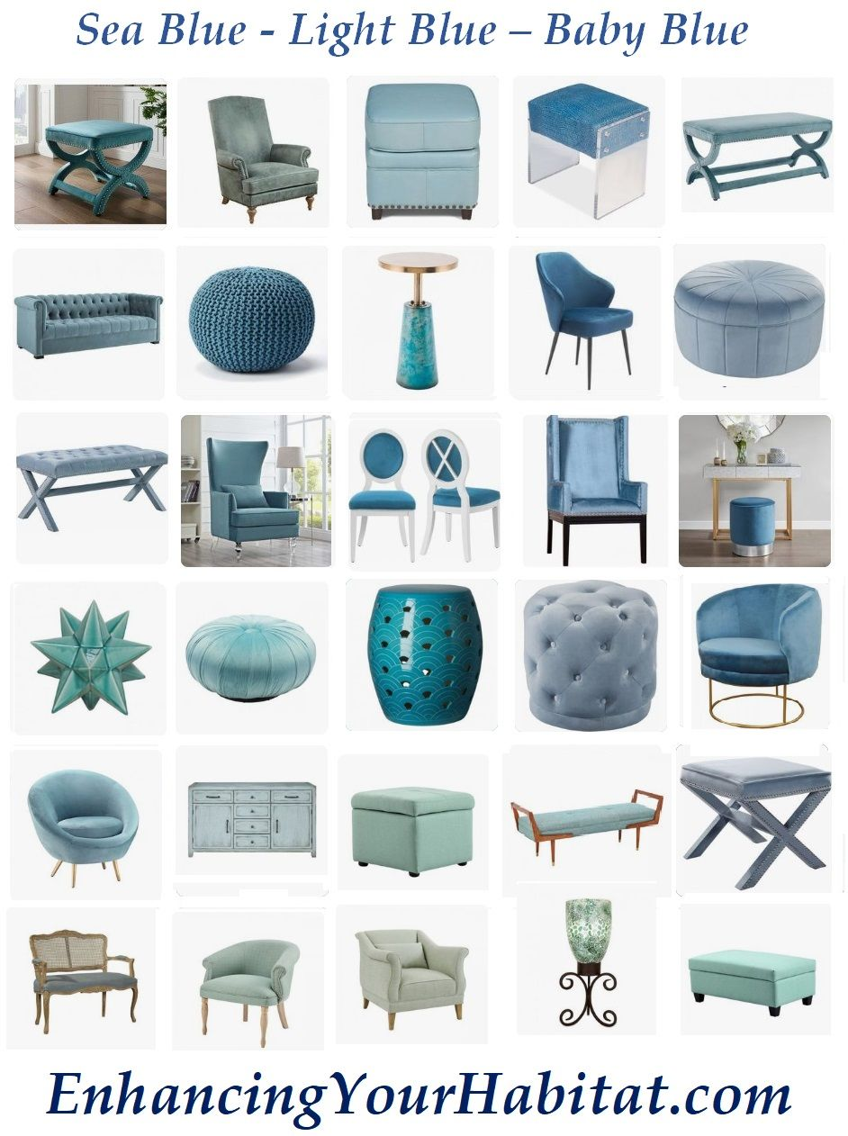 Light Blue Baby Blue Sea Blue Aqua Blue Blue Furniture Ottoman