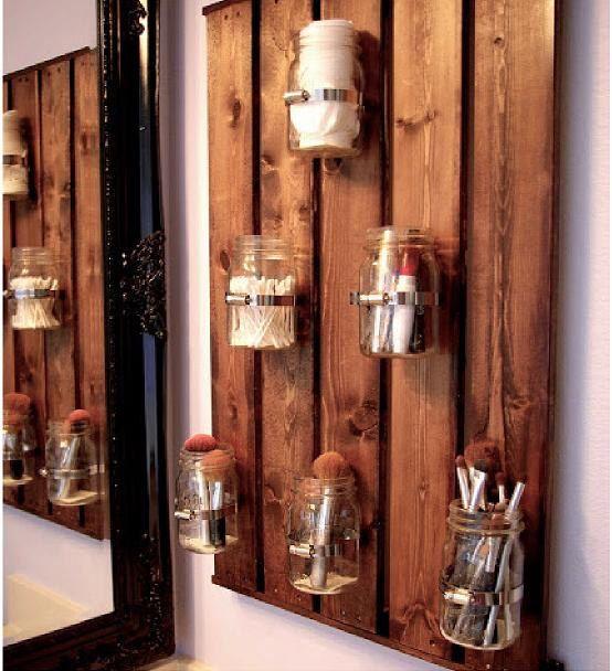 Photo of Wood backer Mason Jar Storage