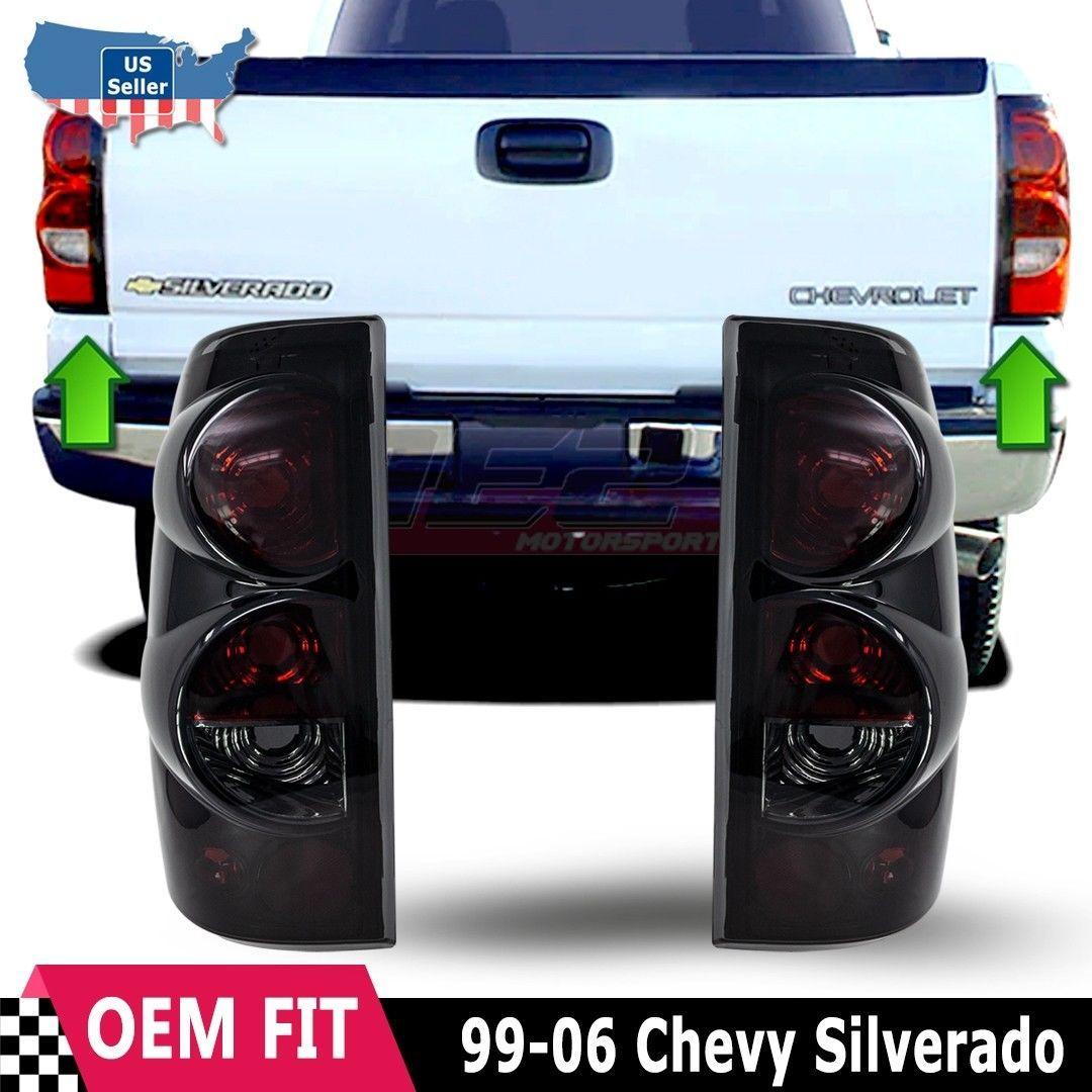 For 99 06 Chevy Silverado 99 03 Gmc Sierra Black Smoke Tail Light Lamp Pair Set Chevy Silverado Silverado Gmc Sierra