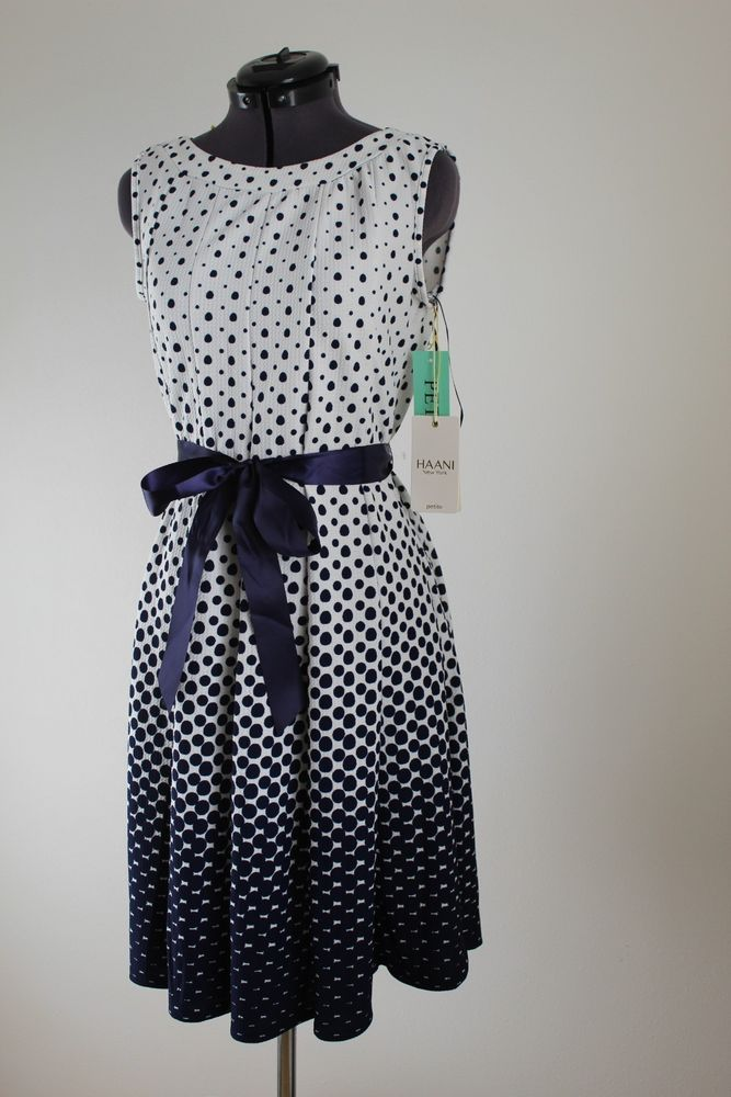 Haani Dress Blue White Diamond Ombre Fit And Flare Ribbon