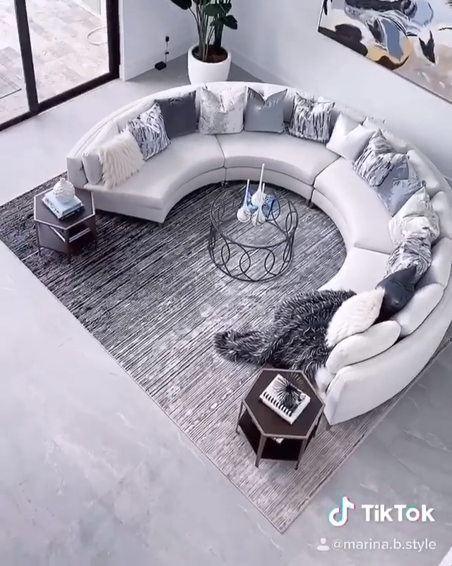 Stunning living room transformation by @marina.b.style on Instagram and TikTok! Check her out! Click the image to try our free home design app.  (Keywords: living room decor, living room ideas, living room designs, dream rooms, house design, home decor ideas, living room rugs, living room furniture, positive vibes, positive thoughts, boho living room)