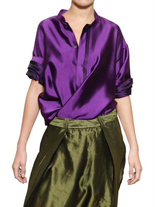 c146ce0d7d996 Haider Ackermann Oversize Silk Shantung Shirt in Purple