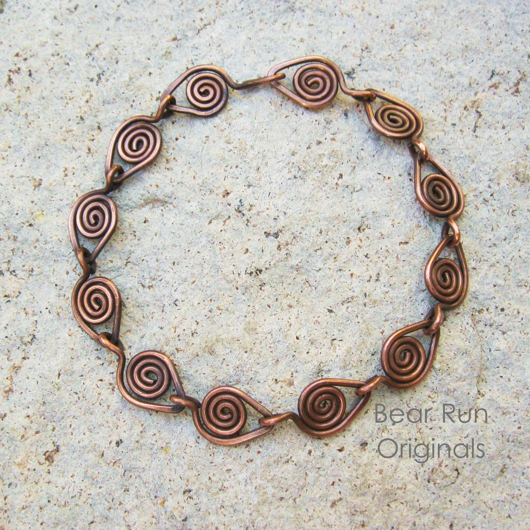 Copper wire jewelry Antiqued copper linked coiled wire wrapped bracelet