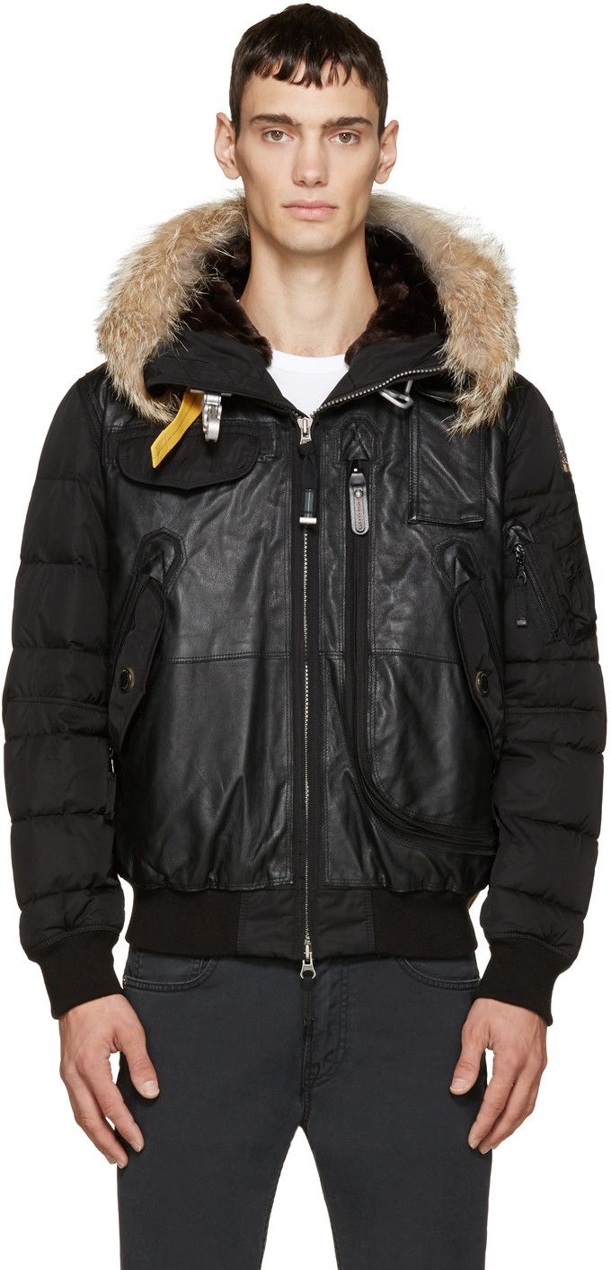 Parajumpers Black Leather & Fur Grizzly Bomber Jacket