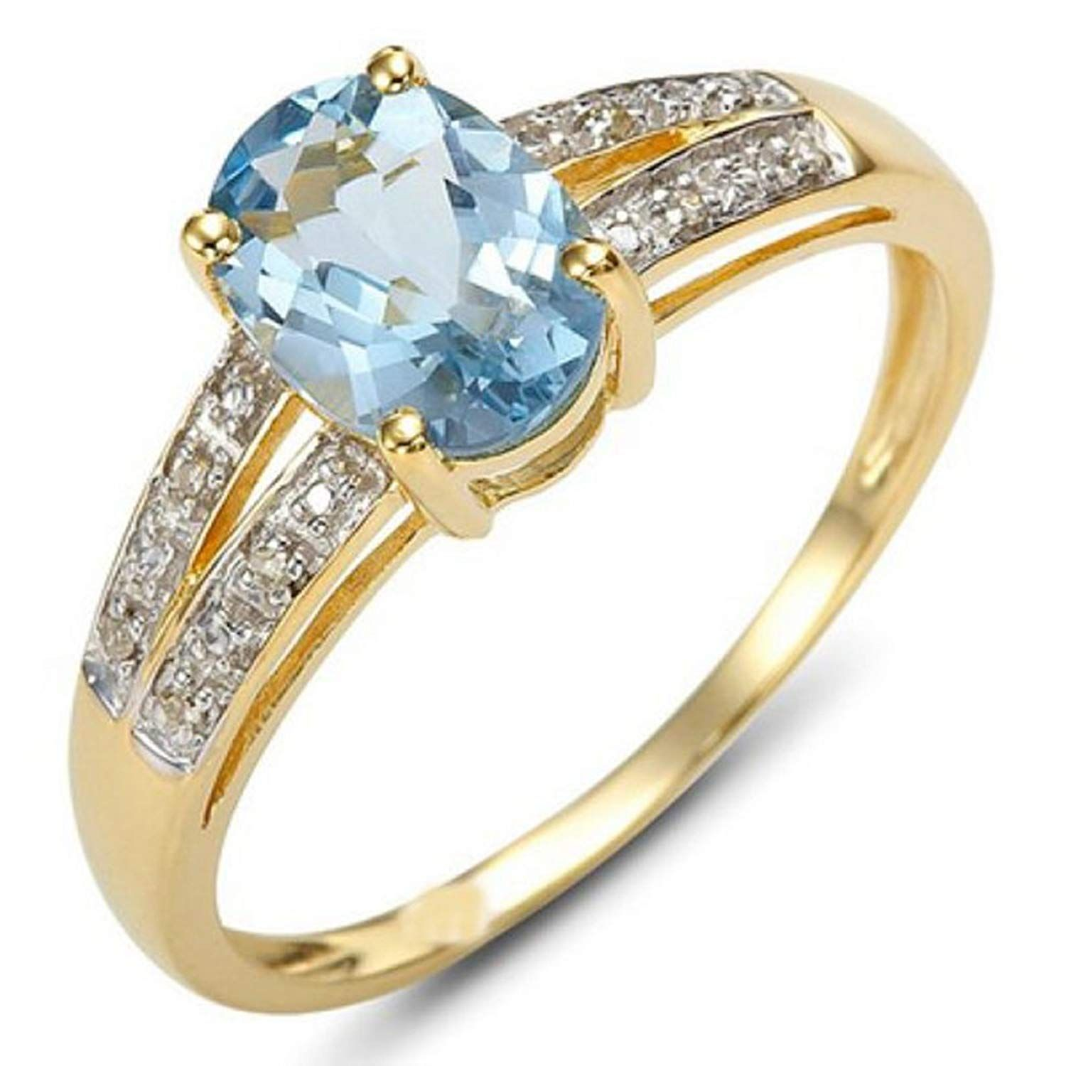 Huanhuan Women S Oval Blue Aquamarine Cz Solitaire Ring Yellow Gold Filled Wedding Jewelry Size 6 To 10 M Women Rings Gold Filled Ring Wedding Jewelry Sets