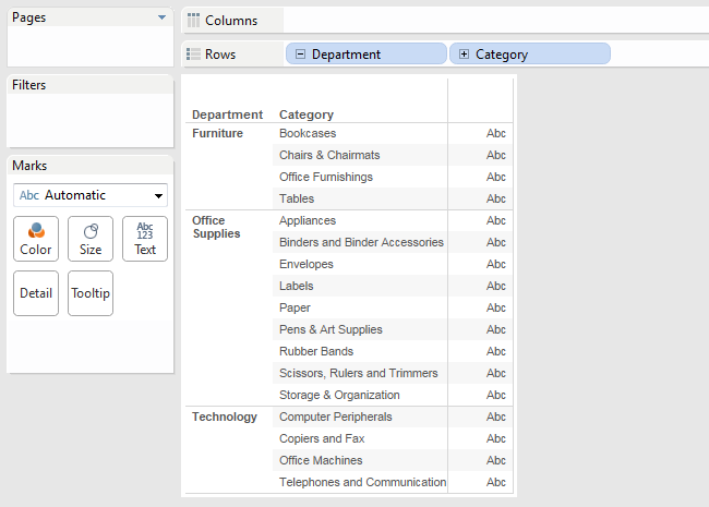Remove ABC column when a report is only dimensions | Tableau