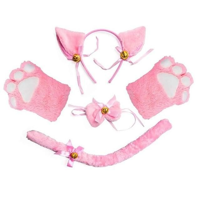 Photo of Women Lady Cat Kitty Maid Cosplay Costume Set Plush Ear Bell Headband Bowknot Collar Choker Tail Paws Gloves Anime Lolita Props – Pink