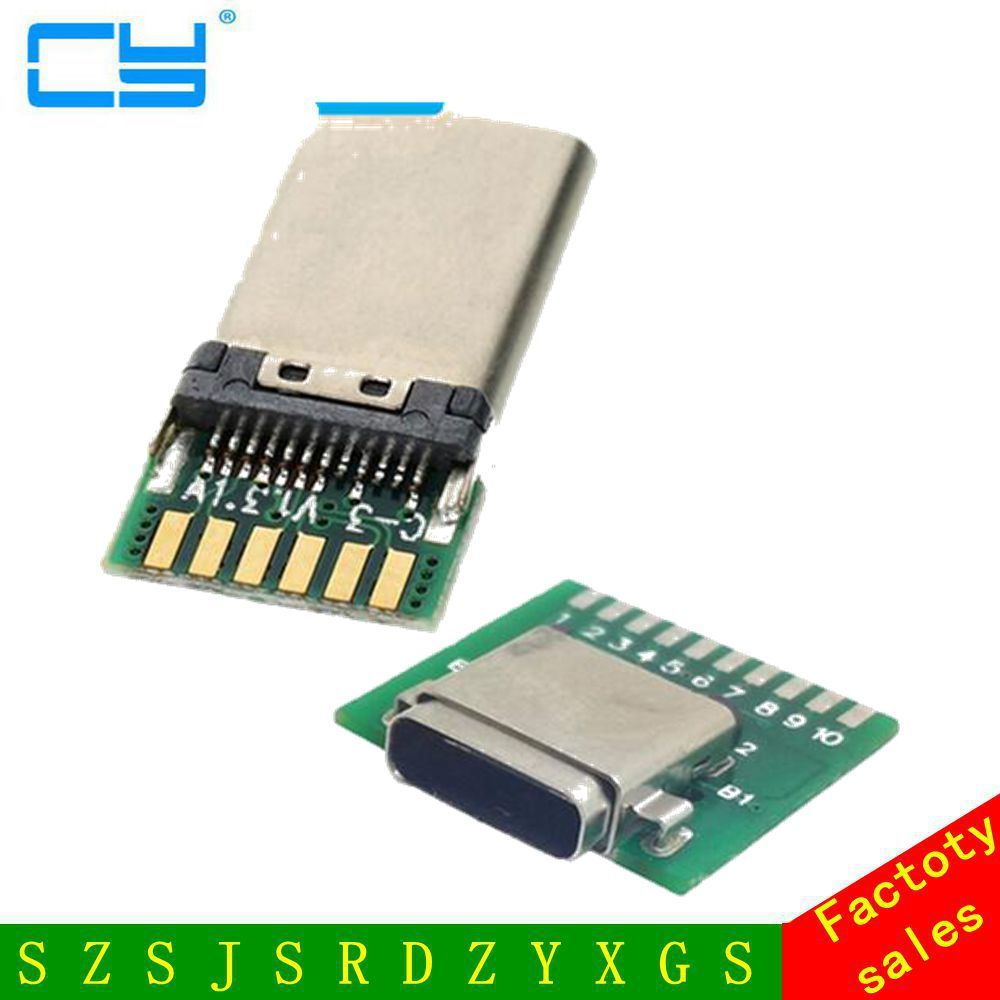 Diy 24pin Usb C 31 Type Male Female Plug Socket Connector Circuit Board Smt With Pc Free Shipping By China Post