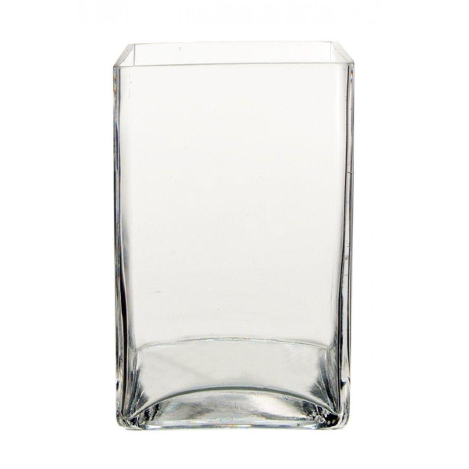 3 W x 4 L x 8 H Clear Rectangular Block PREMIUM Glass Vase (Case Of ...