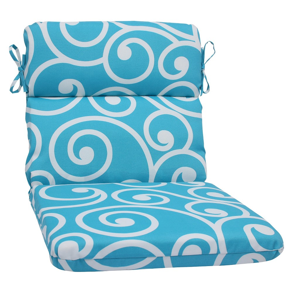 Pillow perfect best outdoor rounded edge chair cushion blue