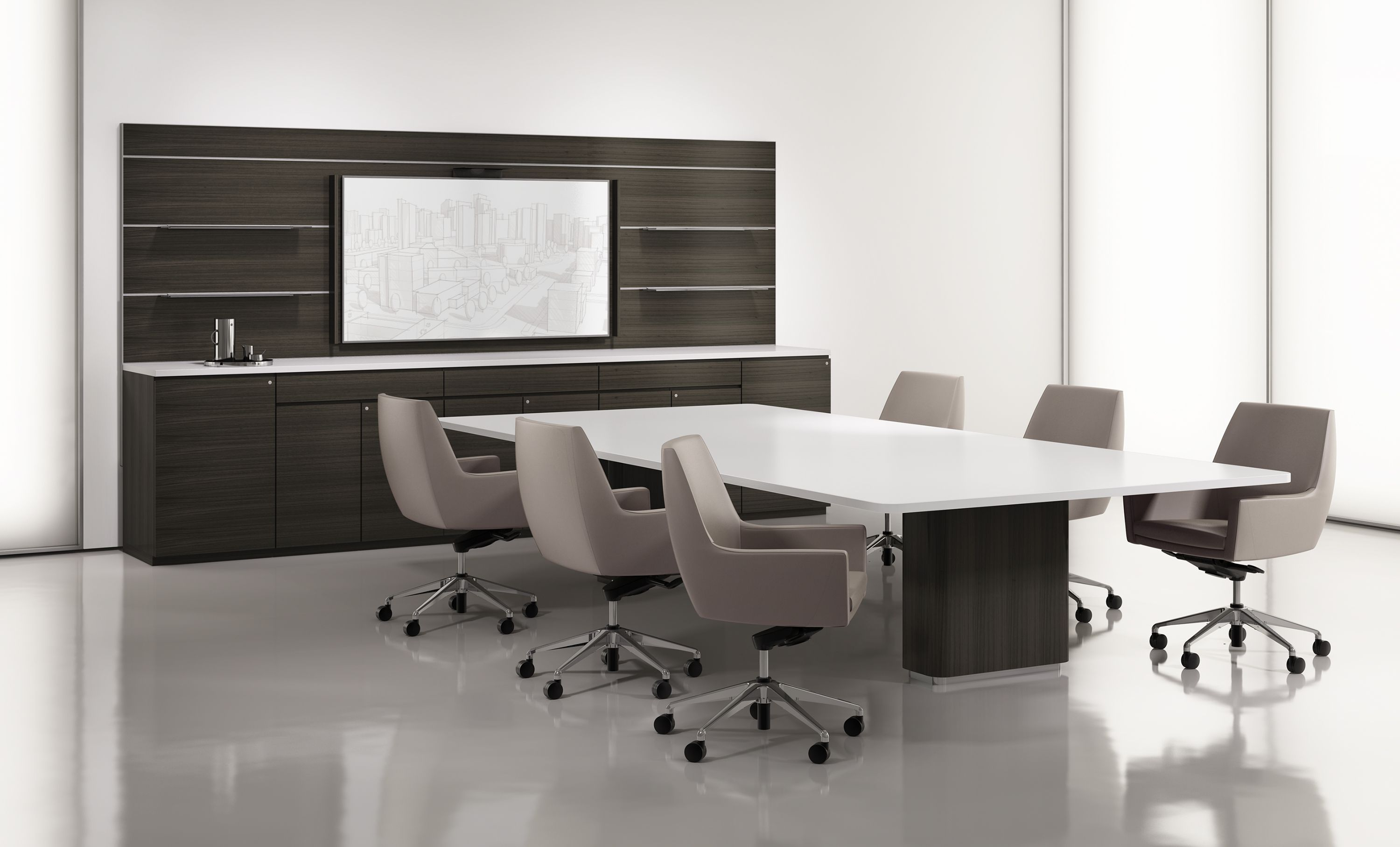 AKA Workwall Conference Table In Corian Top And Veneer Legs Cardan - Corian conference table