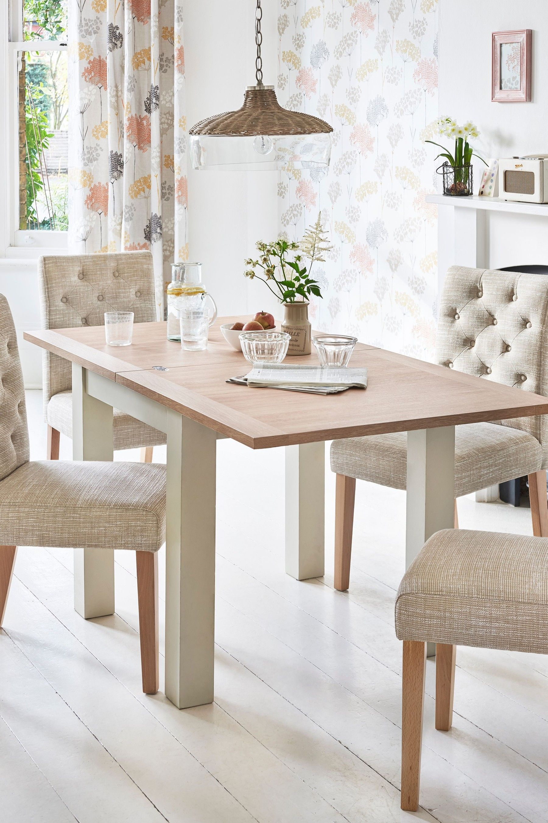 Next Malvern 4 6 Seater Square To Rectangle Dining Table Cream