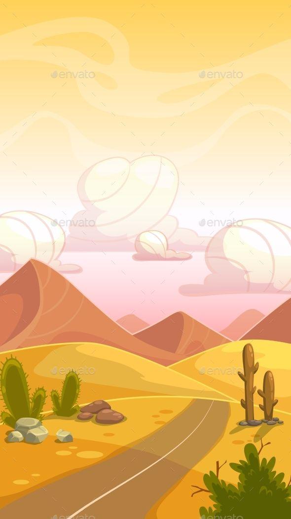 Cartoon Desert Landscape By Lilu330 Cartoon Desert Landscape With