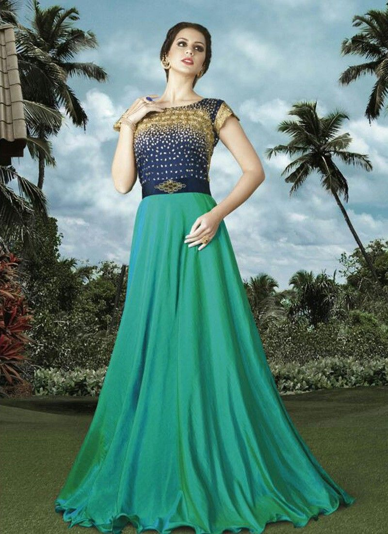 Buy Apparels- Designer Sea Green Colour Silk Embroidered Work Suit ...