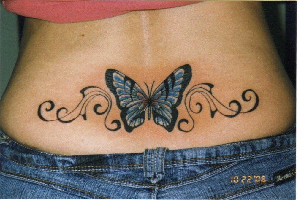 Papillon Bleu Tatou En Bas Du Dos Femme Tatouage Femme Pinterest Bas Du Dos Papillon