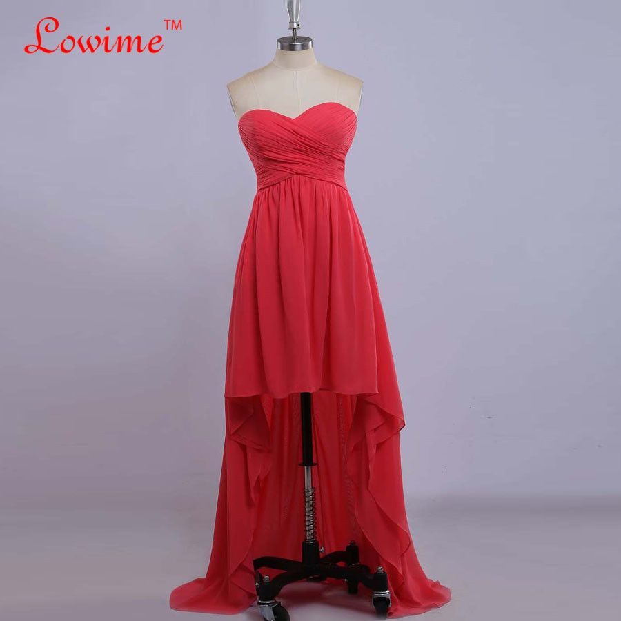 Click to buy ucuc red high low evening dresses with pleats chiffon