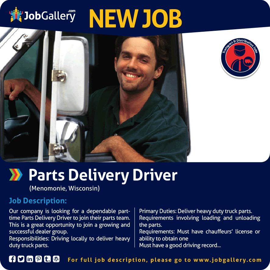 Seeking A Parts Delivery Driver Menomonie Wi Jobs Jobopening