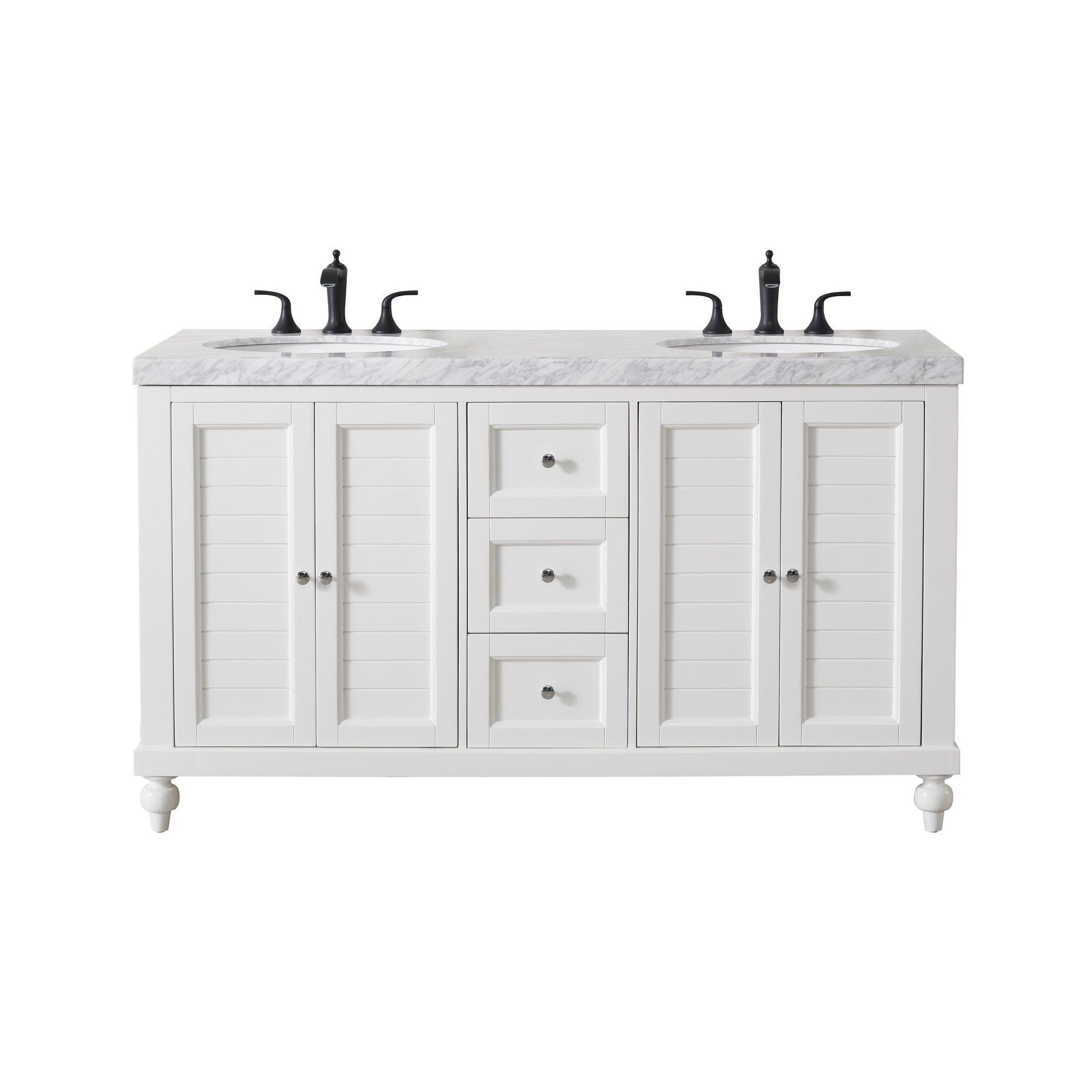 Stufurhome Kent 60 Inch White Double Sink Bathroom Vanity With