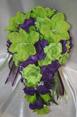Bridal Bouquet Package Lime Green Purple Silk Wedding Flowers