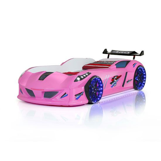 Jaguar Girls Car Bed In Pink With Spoiler And Led On Wheels