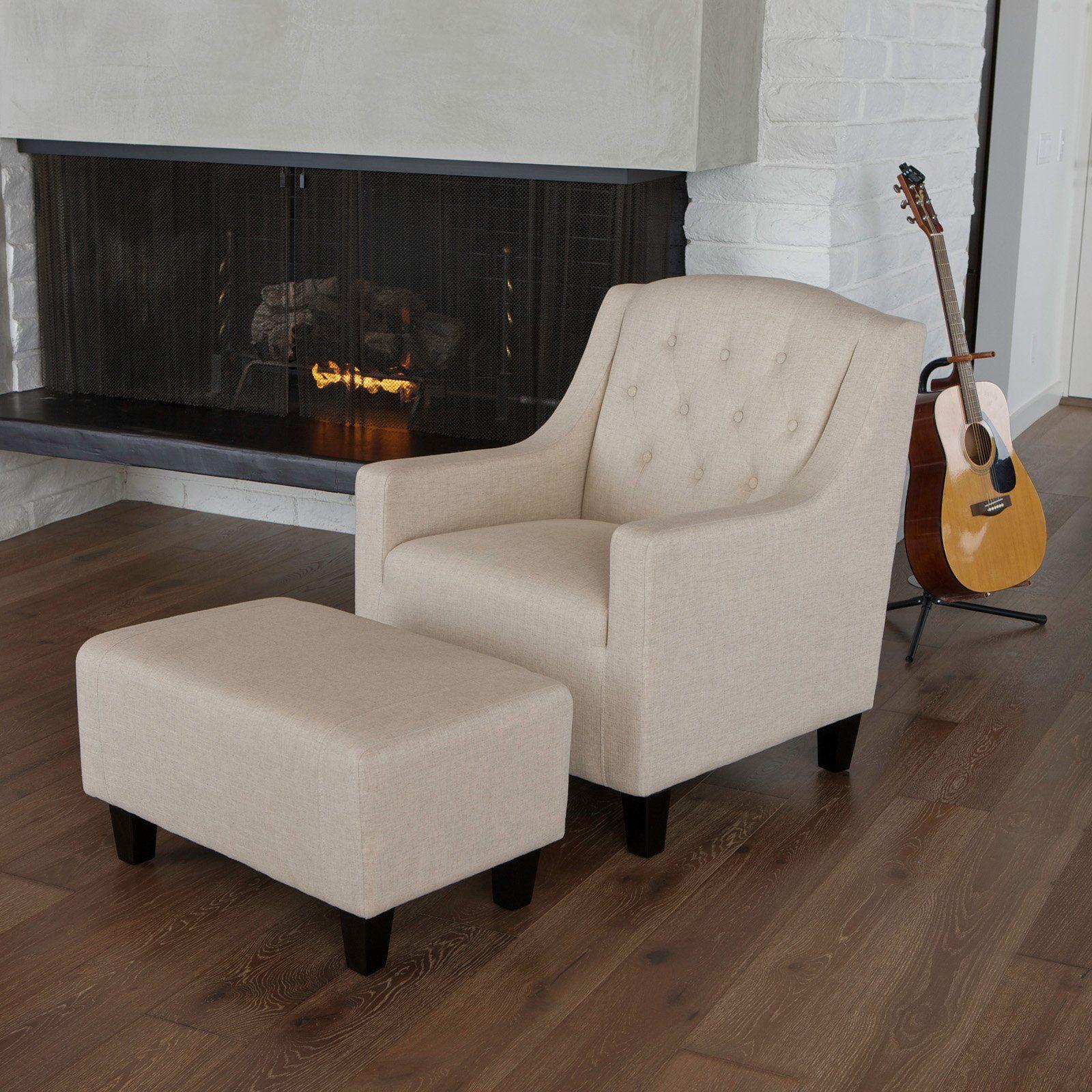 Elaine tufted fabric club chair and ottoman beige